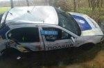 Пьяные украинские полицейские утопили в болоте патрульное авто
